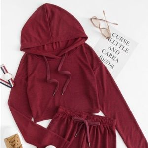 Tops - Drawstring crop hoodie with shorts set